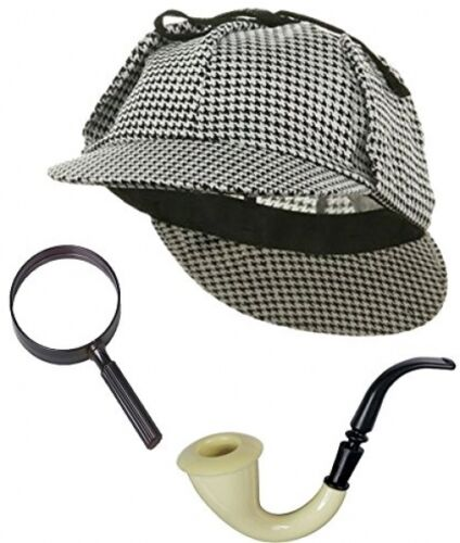 Detective Hat Costume Pipe and Magnifying Sherlock Holmes Detective Bundle