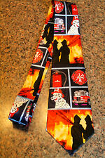 Firefighters & Firemen's Tools On A New Black 100% Polyester Neck Tie! #2