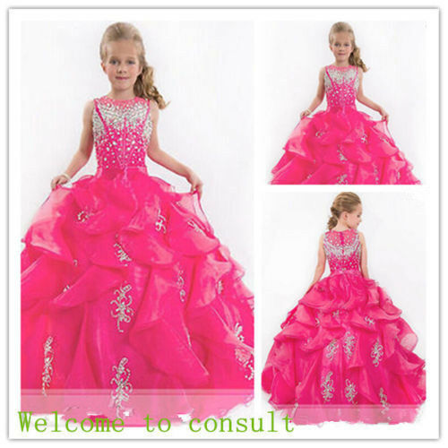 Flower Girl Dresses Wedding Bridesmaids Prom Ball Gown Pageant Party Fushia