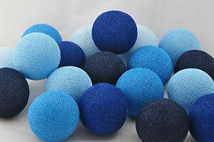 20er lichterkette b lle baumwolle verschiedene blau t ne. Black Bedroom Furniture Sets. Home Design Ideas