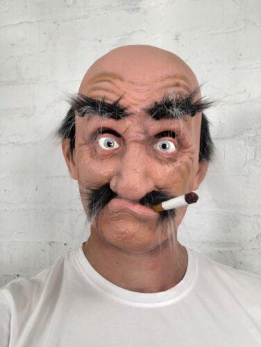 /'Smokey Joe/' Old Bald Man Mask Latex Halloween Grey Hair Fancy Dress Costume