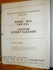 Super-Vac E40 STREET CLEANER OPERATION MAINT PARTS SERVICE MANUAL VACUUM LEACH