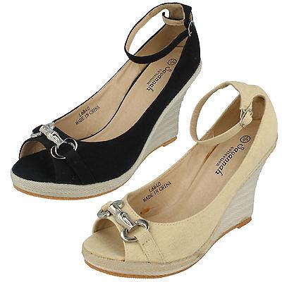 Zapatos señoras L6840 Peep Toe Cuña por savannh Colección por menor precio £ 5.99