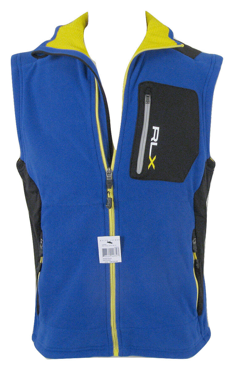 NEW  Ralph Lauren RLX Fleece Vest   Big RLX on Front  Sporty bluee
