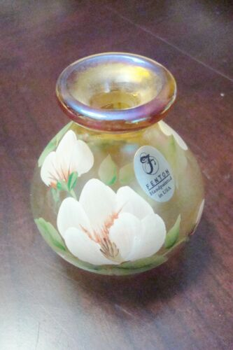 Vintage Fenton Hand Painted Signed Clear Amber mini vase[89]