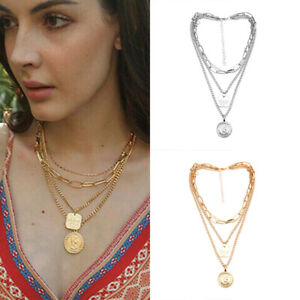 Clavicle-Chain-Choker-Jewelry-Multilayer-Women-Pendant-Gold-Plated-Necklace