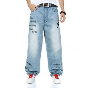 Loose-Fit-Mens-Jeans-Teens-Denim-Hip-Hop-Pants-Skate-StreetWear-Print-Character