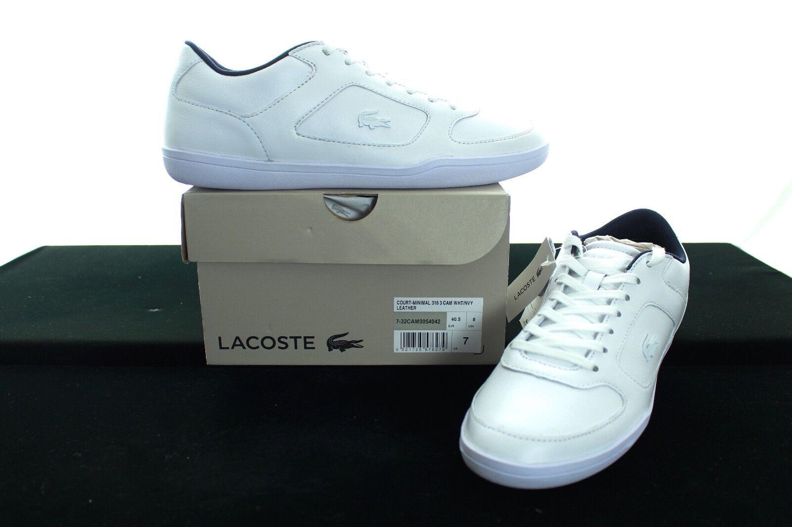BNWB LACOSTE Men's Court minima 3161 In Pelle scarpe da ginnastica EU40.5 RRP