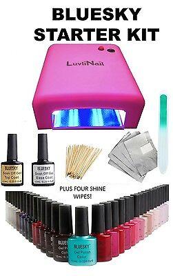 BLUESKY UV LED NAIL GEL POLISH STARTER KIT 36W UV LAMP,TOP + BASE+CHOOSE COLOURS