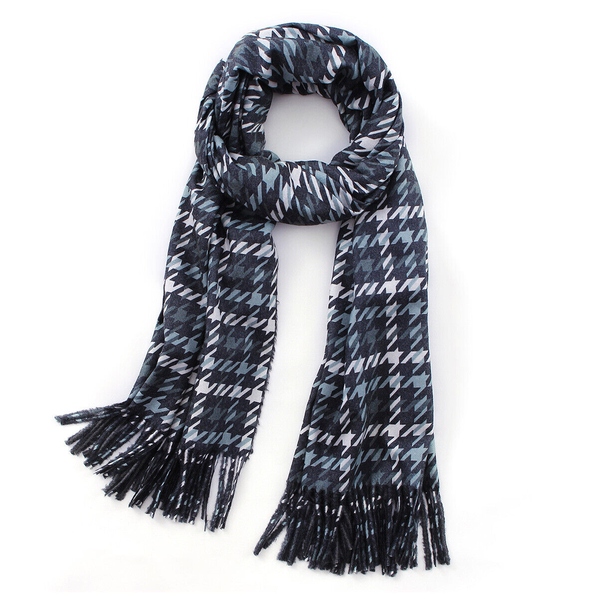 Women Plaid Scarf Neck Warm Large Tartan Wrap Stole Wool Pashmina Tassel Shawl