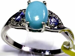 Arizona Sleeping Beauty Turquoise and Tanzanite Ring in Sterling Silver Gift For Her Christmas Gift Ever