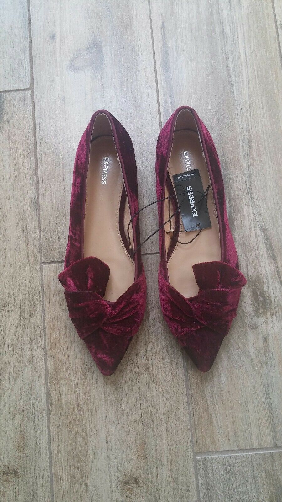 Express Women's Burgundy Slip On Flats shoes Size 8 New With Tag Pointed Toes