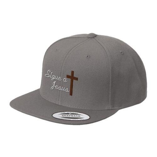 Sigue A Jesus Spanish Follow Jesus Embroidered Flat Visor Snapback Hat