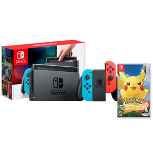 Nintendo-Switch-with-Neon-Blue-and-Neon-Red-Joy-Con-Pokemon-Let-039-s-Go