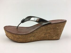 c257a1399 Image is loading TORY-BURCH-Thora-Cork-Wedge-Flip-Flop-Sandals-