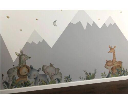 Kids Rooms Decor Animal Cartoon Wall Stickers Giraffe Lion Fox Elephant Baby