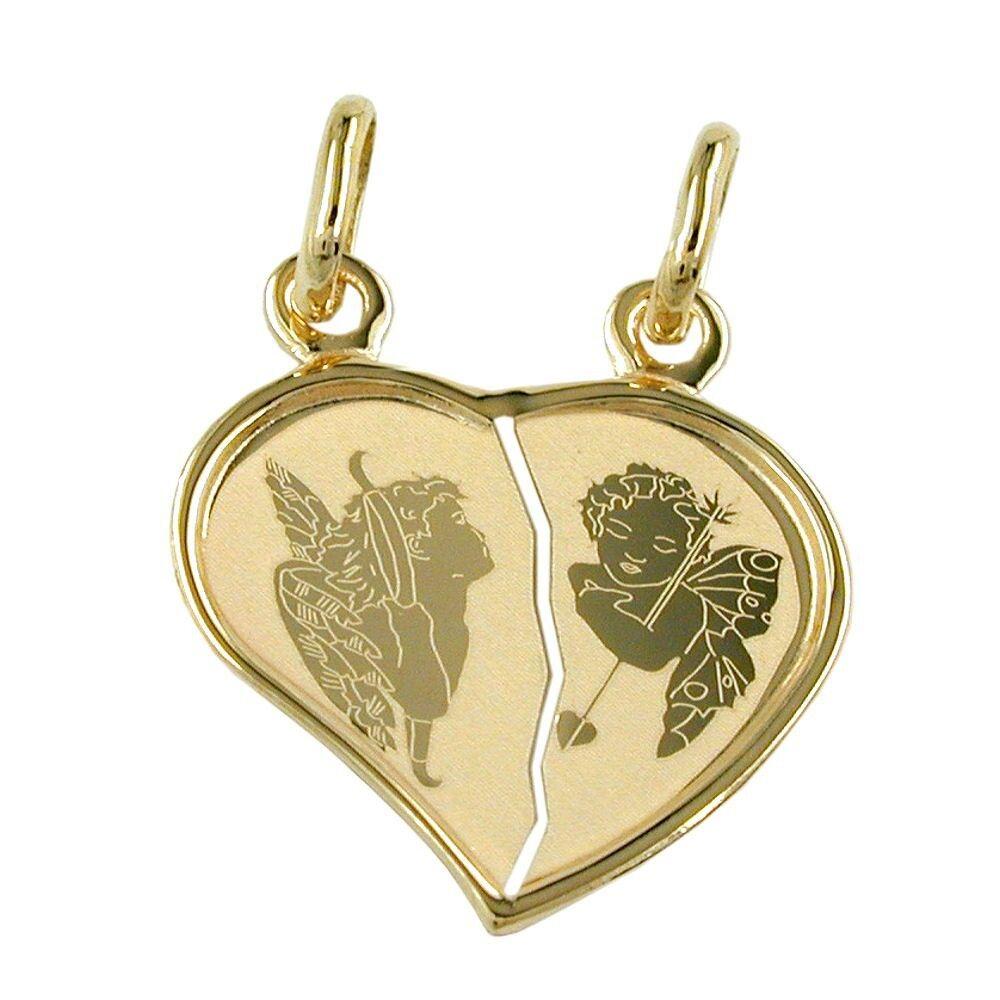 Engel Anhänger Herz Doppelherz mit zwei Engeln, 585 gold, zum Teilen, Unisex