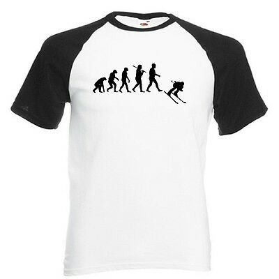 Evolution of a Skier White with Black Baseball T-Shirt skiing alpine slalom NEW