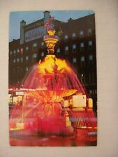VINTAGE PHOTO POSTCARD THE FOUNTAIN ON PUBLIC SQUARE AT NIGHT IN WATERTOWN, NY