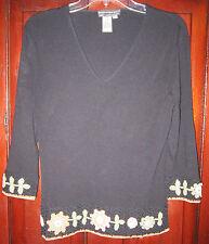 Quest-Ce Que C'est? L M S Knit Sweater Top Shirt Blouse Floral Embroidered Black