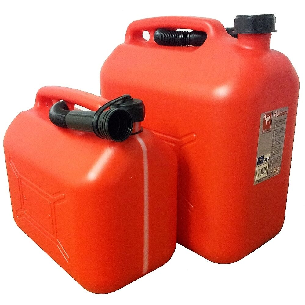 Plastic Fuel Jerry Can with Spout - 5, 10 and 20 Litre Sizes Available