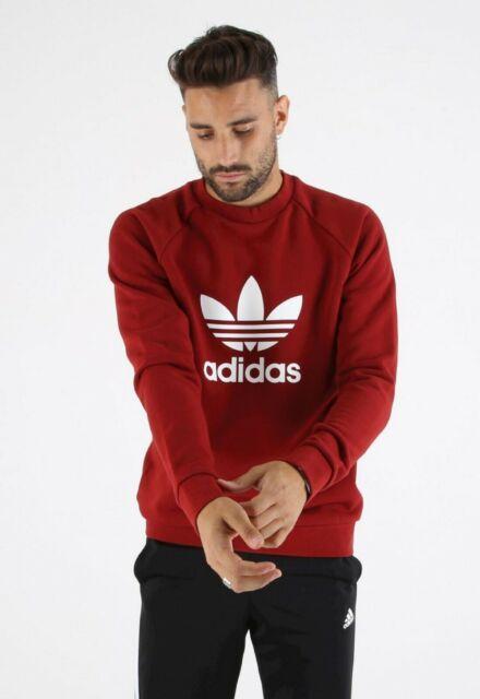 adidas Trefoil Crew Fleece Sweatshirt Rust Red Maroon Cx1897 Men's Size Medium