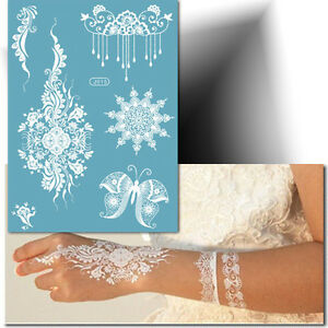 tatouage temporaire blanc papillon ph m re tattoo mariage henn blanc ebay. Black Bedroom Furniture Sets. Home Design Ideas