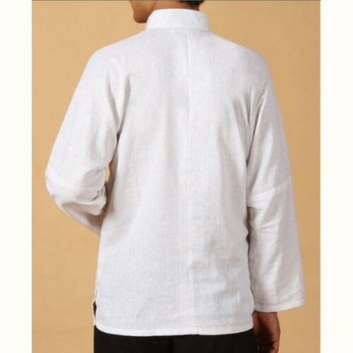 New Retro Collar Button Traditional Chinese Men Kung Fu Linen  Shirts Tops