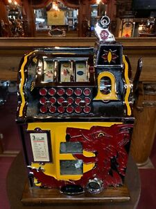 Fully-Restored-1932-MILLS-5-Cent-Lion-039-s-Head-Slot-Machine-034-Watch-Video-034