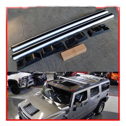 1 Pair Silver Aluminum Roof Rack Cross Bars Top Rail Carries For 03-09 Hummer H2