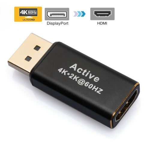 DP to HDMI Adapter 4K 60hz 3D Gold DisplayPort to HDMI Converter Male to Female