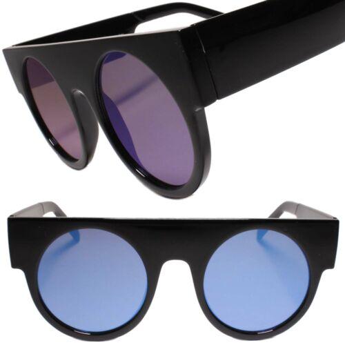 Retro Futuristic Geometric Flat Top Blue Color Mirrored Lens Round Sunglasses