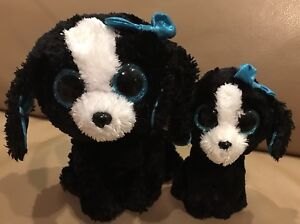 TY-Beanie-Boos-TRACEY-Dogs-Puppy-MOM-amp-BABY-Black-amp-White-Blue-Bow-6-9