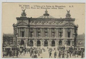 187 PARIS L'Opéra et la Station du Métropolitain A P - France - Bon état , circulé 1911 avec timbre Pasteur - France