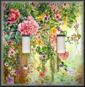 Metal-Light-Switch-Plate-Cover-Flower-Garden-Pink-Green-Floral-Home-Decor-Rose