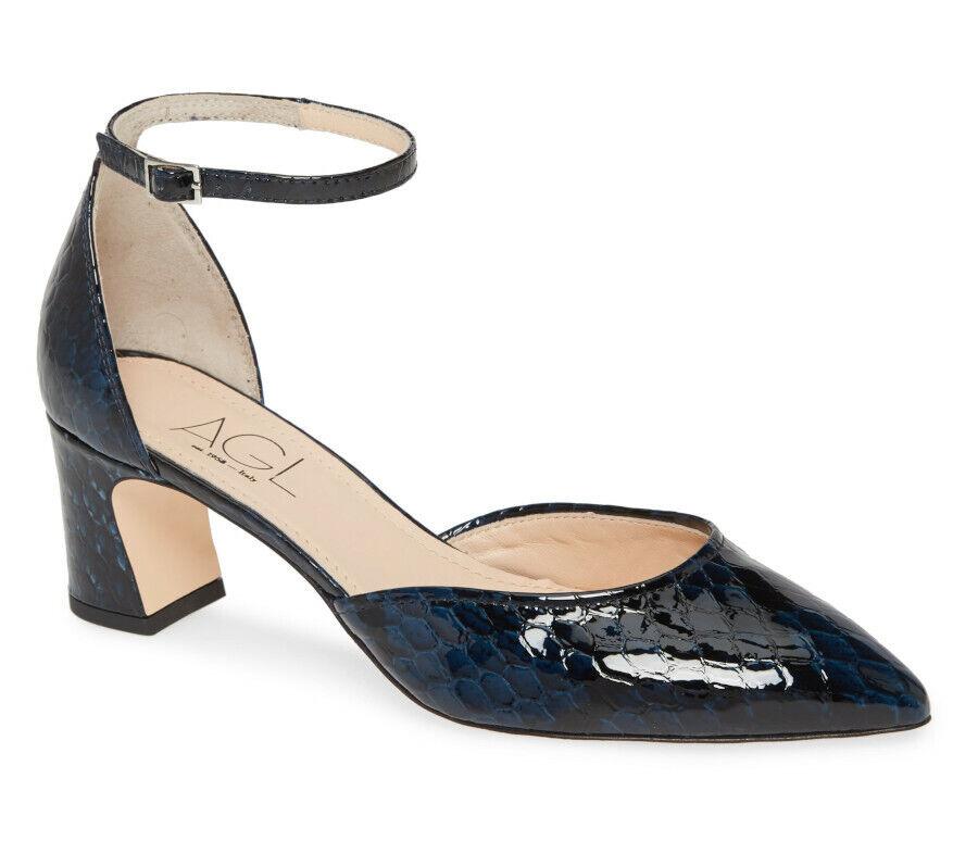 NIB AGL D'Orsay Pointy-Toe Ankle Strap Pump Sandal 39.5/9.5 Navy Python Patent