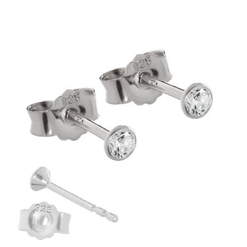PAAR Ohrstecker 925 Sterlingsilber Silber Ohrringe Anlaufgeschützt Zirkon weiß