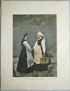 ca.1895 French photochrom NORWEGIAN COSTUMES, SOGNEFJORD, NORWAY (#300)