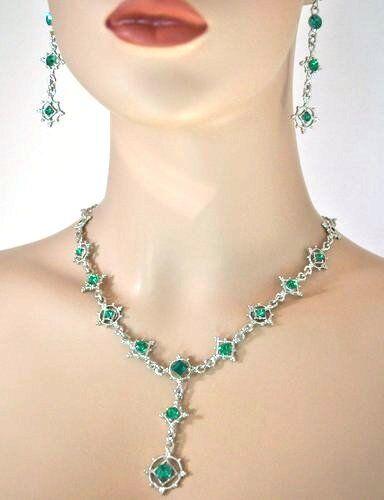 Barock SET Gothic Kristall Grün Collier Ohrringe Braut Trachtenschmuck 15G
