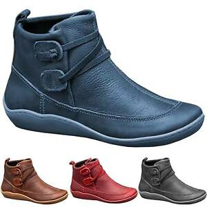 womens vintage leather arch support ankle boots ladies