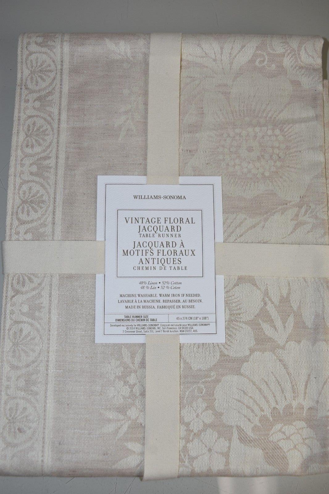 Nouvelle Williams Sonoma Vintage Floral Jacquard Table Runner Naturel Beige 45x274