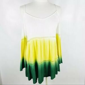 Umgee-Womens-Small-Cold-Shoulder-Ombre-Green-Yellow-Boho-Flowy-Top