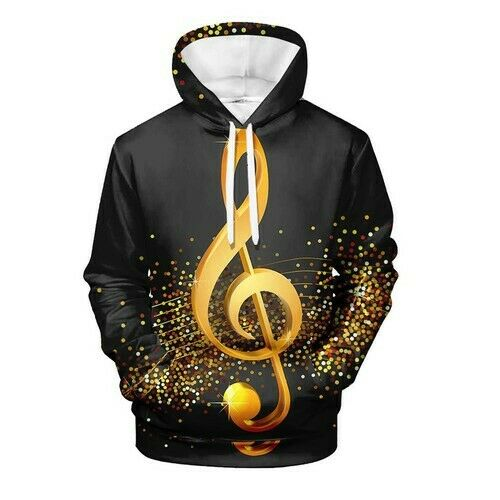 Glittery Music Note Loose Women Men 3D Print Hoodies Pullovear Sweatshirts