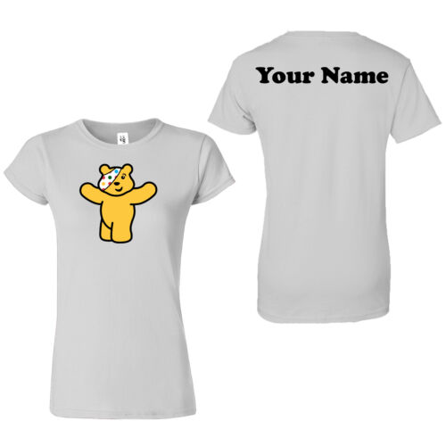 Personalised Spotty Pudsey Bear Women T shirts Children In Need Kids Top T-Shirt