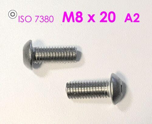 Innensechskant 10 Stück Linsenkopfschraube M8x20 Edelstahl A2