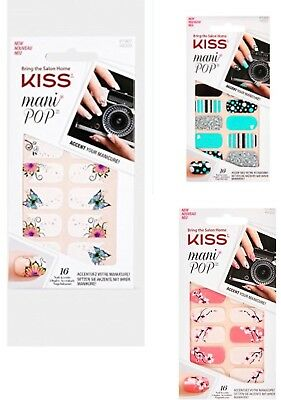 Kiss Mani Pop Nail Stick On Nail Strips You Choose One From Many Designs Ebay