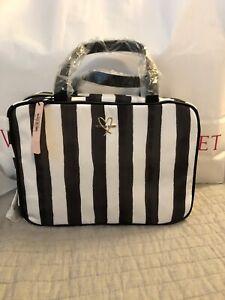 NWT-VICTORIA-039-S-SECRET-Striped-Hanging-Make-Up-Train-Case-Travel-Bag-nylon
