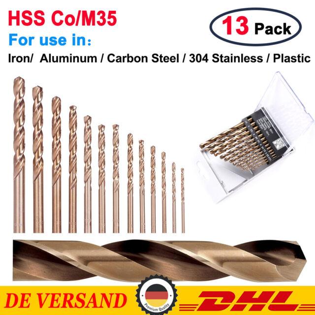 ✅13x HSS-E-CO Edelstahl 5% Cobalt Metallbohrer Spiralbohrer Set Satz 1.5-6.5mm