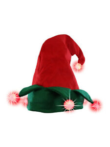 910cad696bf26 Light Up Elf Hat Lighted Red Green Jester Santa s Helper Christmas ...