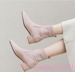 Roma-Gladiator-Womens-Sock-Ankle-Boots-Pointed-Toe-Kitten-Heel-Suede-Leather-New